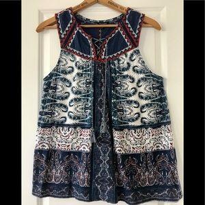 Lucky Brand peasant top w tassels + mixed fabrics